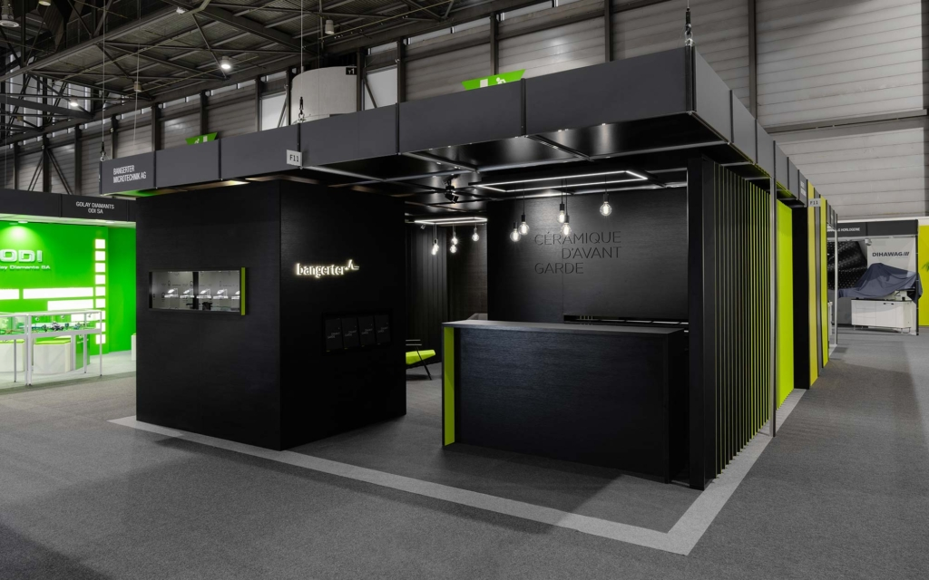 Exhibition Stand Design Concepts : Black is back exhibition stand design for bangerter gehri